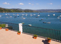 Beautiful seascape with boats in spain the photo is taken from a terrace redes galicia Stock Photography