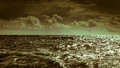 Beautiful seascape storm sea horizon and sky. Royalty Free Stock Photo