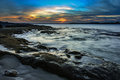 Beautiful seascape sydney australia sunset from sea Stock Photography