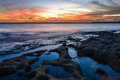 Beautiful seascape sydney australia sunset from sea Stock Photos