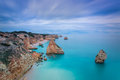 Beautiful seascape with unreal sky blue colors portugal algarve Royalty Free Stock Image