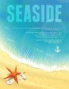 Beautiful seaside view with starfish vector illustration eps editable Stock Photos