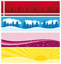 Beautiful seasonal banners snow ans sun Royalty Free Stock Photography