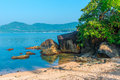 Beautiful secluded place in a lagoon tropical Royalty Free Stock Photo