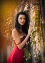 Beautiful sensual woman in red dress posing in autumnal park. Young brunette woman daydreaming near a wall with rusty leaves Royalty Free Stock Photo