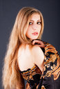 Beautiful sensuality blond girl in dress Royalty Free Stock Image