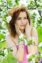 Beautiful sensuality woman in blossom orchard Royalty Free Stock Photo