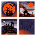 Beautiful set of cards for Halloween holiday. Royalty Free Stock Photo