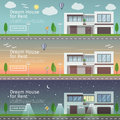 Beautiful set of flat vector web banners on the theme modern Real Estate