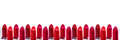 Beautiful set of lipsticks on white background. Beauty cosmetic collection. Fashion trends in cosmetics with bright lips