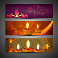 Beautiful set of three diwali headers bright colorful illustration Royalty Free Stock Photos