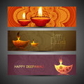 Beautiful set of three diwali headers colorful Royalty Free Stock Photography