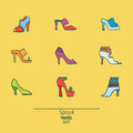 Beautiful set of various shoes and sandals, isolated on yellow background. Vector bundle with 9 different summer and spring female