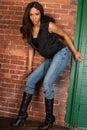 Beautiful Sexy African American Black Woman wearing casual black Royalty Free Stock Photo