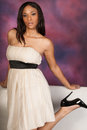 Beautiful Sexy African American Black Woman wearing white dress Royalty Free Stock Photo