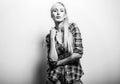 Beautiful sexy blond woman pose against studio background. Black-white photo Royalty Free Stock Photo