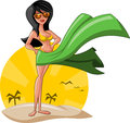Beautiful sexy cartoon girl beach wearing bikini Royalty Free Stock Images