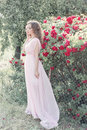 Beautiful sexy girl in a light dress with delicate make up and hair in a flower garden with roses in luchas sunlight at sunset st Stock Images