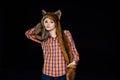 Beautiful sexy girl wearing brown fur hat Royalty Free Stock Photo