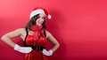 Beautiful sexy girl wearing santa claus clothes this image has attached release Stock Photo