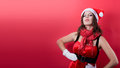 Beautiful sexy girl wearing santa claus clothes this image has attached release Royalty Free Stock Photo