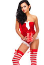Beautiful sexy girl wearing santa claus clothes and woman clause costume Stock Photos