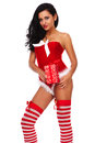 Beautiful sexy girl wearing santa claus clothes and woman clause costume Royalty Free Stock Photos