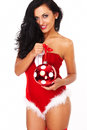 Beautiful sexy girl wearing santa claus clothes and woman clause costume Stock Photo