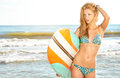 Beautiful sexy surfer girl Royalty Free Stock Photo