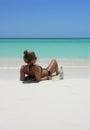 Beautiful sexy teenage girl lying on the beach Stock Photography