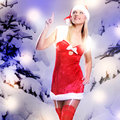 Beautiful sexy woman in christmas or santa look Royalty Free Stock Image