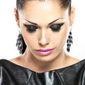 Beautiful sexy woman with glamour fashion makeup face of the of eyes and gloss hairstyle portrait of the caucasian adult girl at Stock Images