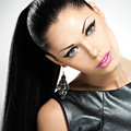 Beautiful sexy woman with glamour fashion makeup face of the of eyes and gloss hairstyle portrait of the caucasian adult girl at Royalty Free Stock Photography
