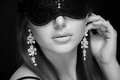 Beautiful sexy woman. her eyes closed mask. monochrome Royalty Free Stock Photo