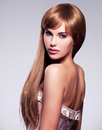 Beautiful sexy woman with long hair portrait of the fashion model straight hairstyle Royalty Free Stock Photo