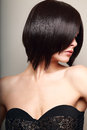 Beautiful sexy woman looking black short hair style closeup Stock Photo