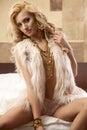 Beautiful And Woman Wearing Elegance Fur