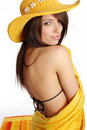 Beautiful sexy woman in yellow hat and bikini Royalty Free Stock Photo