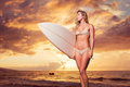 Beautiful sexy young surfer girl in bikini on the beach at sunse sunset Stock Photos