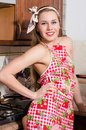 Beautiful sexy young woman pinup girl in apron laughing in kitchen portrait picture of pretty maid service happy smile having fun Stock Image