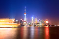 Beautiful shanghai huangpu river at night Stock Images