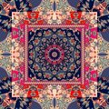 Beautiful shawl. Ethnic square rug. Russian patchwork style. Royalty Free Stock Photo