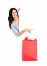 Beautiful shopping christmas woman with bag isolated on white background Stock Image