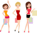 Beautiful shopping girls Stock Image