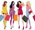 Beautiful shopping girls Stock Images