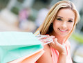 Beautiful shopping woman portrait of a smiling with bags Royalty Free Stock Photos