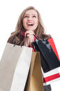 Beautiful shopping woman praying portrait of a and young Royalty Free Stock Photo