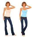 Beautiful short haired young girl in flare jeans Stock Photos