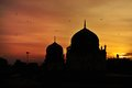 Beautiful Silhouette of mosque during sunet Stock Photo