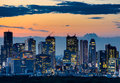 Beautiful Silhouette of Tokyo Skyline at Twilight Royalty Free Stock Photo